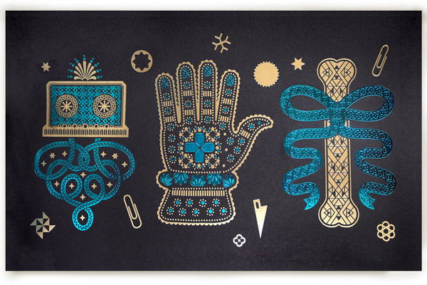 reliquary #illustration #hand #prints #foil
