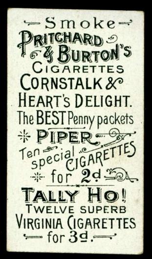 All sizes | Cigarette Card Back - Pritchard & Burton | Flickr - Photo Sharing! #vintage #typography