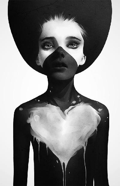 Ruben Ireland - Portfolio #heart #white #girl #black #illustration #portrait #art #and