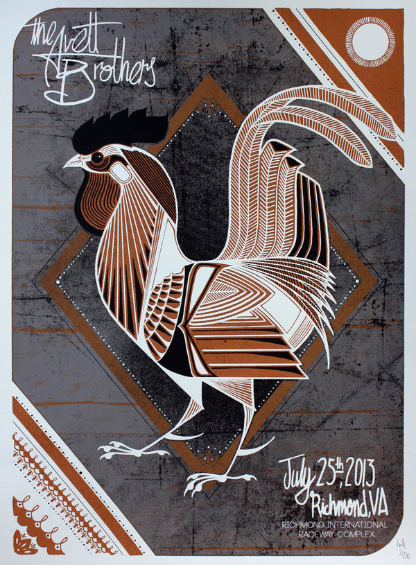 Avett Brothers Show Poster / Richmond, VA #rooster #bird