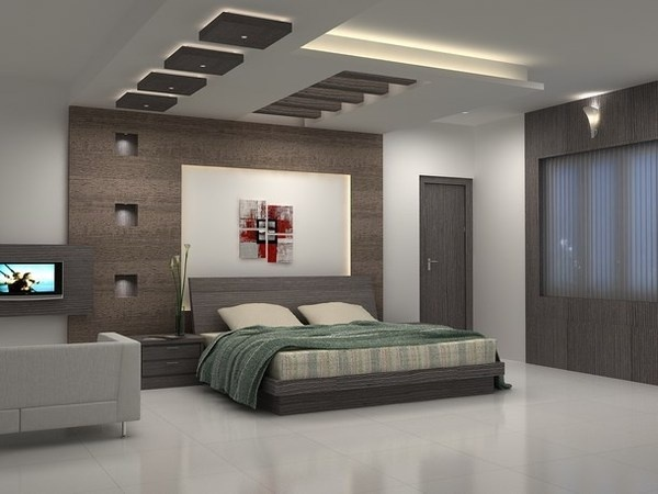 Abstract paintings in modern and luxury bedroom #interior #paintings #bedroom #decor #art #painting
