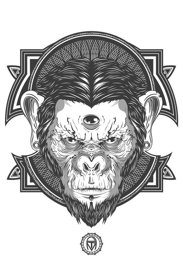 Thiago Mendonça - Three-Eyed Monkey #white #eyes #design #chimp #black #monkey #eye #illustration #and #three #face