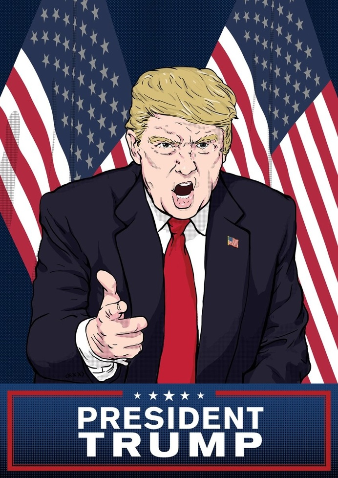 President - Donald Trump illustrated poster #trump #poster #illustration