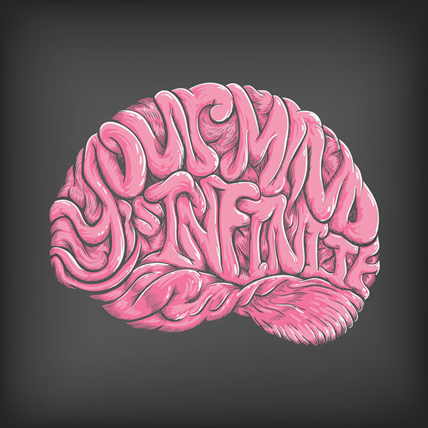 Your Mind is Infinite on Behance #pink #mind #design #brain #illustration #art #infinite #typography