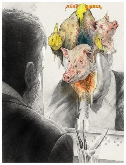 ilustracikjhiqon..,... on the Behance Network #ligay #dmitry #head #pig #mirror #illustration #skull #drawing