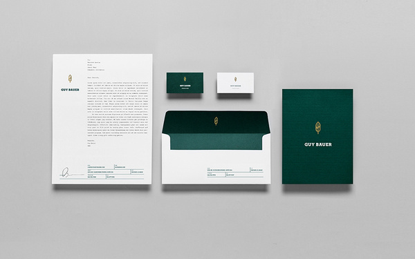 Anagrama | Guy Bauer #stamp #white #anagrama #stationary #business #card #envelope #letterhead #foil #green