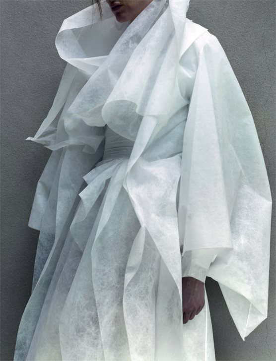 "Dazed Summer 2014, ""Pugh's Labyrinth"" #white #woman #labyrinth #textile #pughs #summer #dazed #fashion #coat"