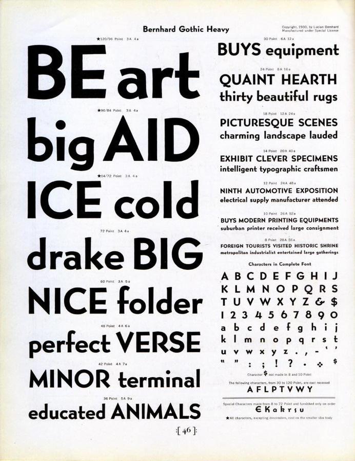 Bernhard Gothic Heavy type specimen #type #specimen #lucian #bernhard