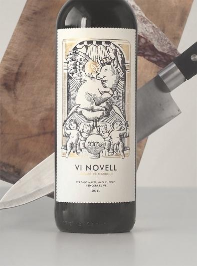 Vi Novell 2011 : Javier Suárez #wine #illustration #label #pig