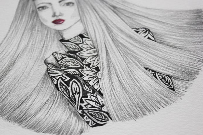 Fashion Illustration by Sophia Mary Mac #fashionillustration #illustration #floral #female #sketch #drawing #draw #ink