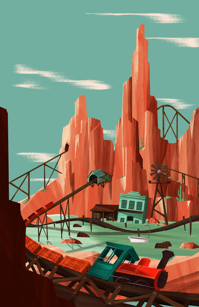 Big Thunder Mountain #mountain #disneyland #big #something #illustration #thunder #savage