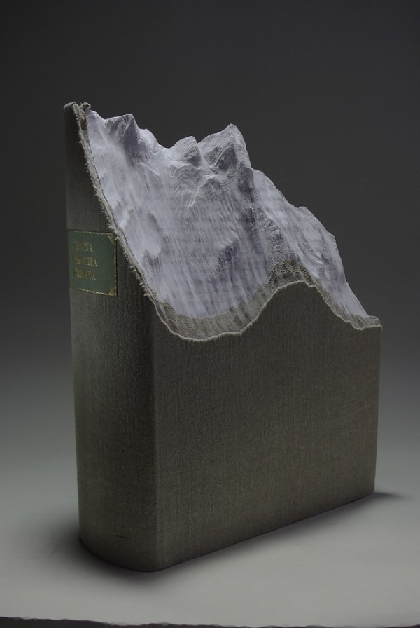 New Carved Book Landscapes by Guy Laramee | Colossal #sculpture #book