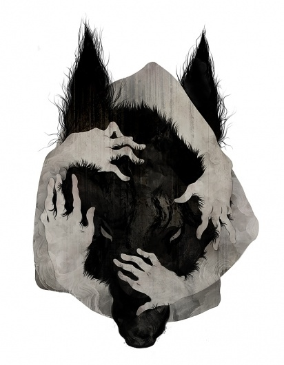 """Wild Dog"" by Corinne Reid #illustration #china #hands #dog"