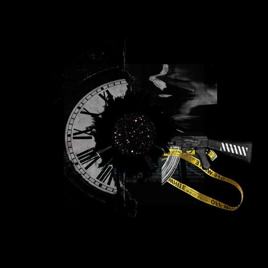 title: TIMELESS by: anguianographics #abstract, #artwork, #space, #clock, #offset, #grunge, #album cover, #black, #stars