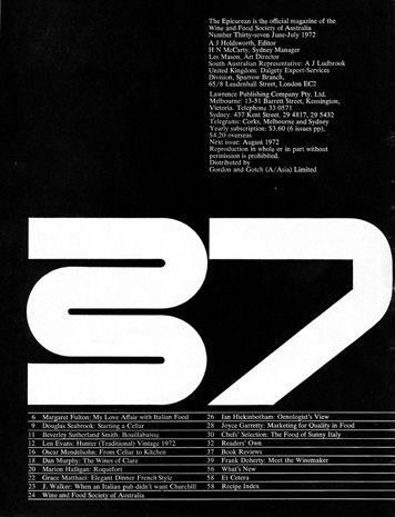 Les Mason / The Epicurean / Issue 37 / Magazine / 1972