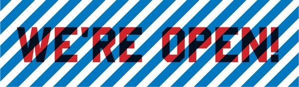 Huckle The Barber, Shoreditch, London - We're Open #red #sign #striped #barbers #blue #open
