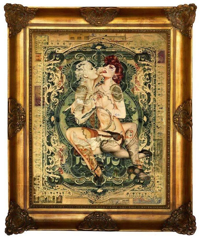 Handiedan #frame #ornate #pinup #collage #money