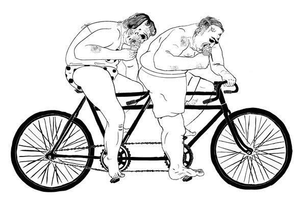 pensicola #fat #bicycle #people #illustration #bike #art #zombies #drawing