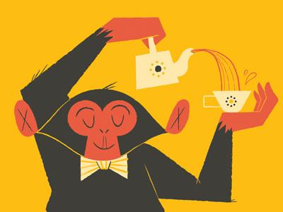 Lydia Nichols #illustration #tea #monkey