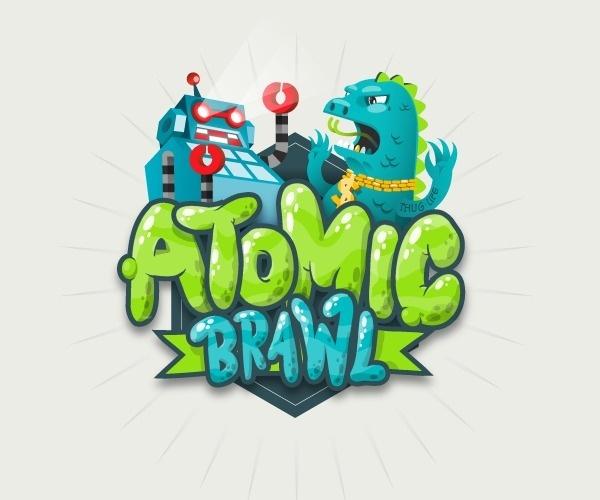 ATOMIC BRAWL #vector #robot #logo #illustration #monster #type