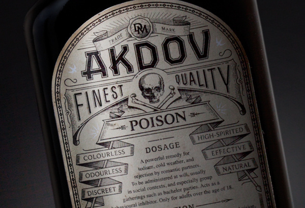 DM on Behance #packaging #typography #liquor #label #akdov #skull #death #poison