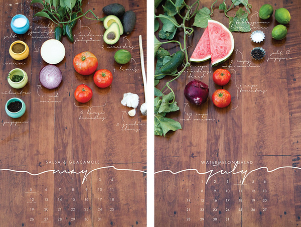 2013 Recipe Wall Calendar from Liz Carver Design #calendar #script #vegetables #food