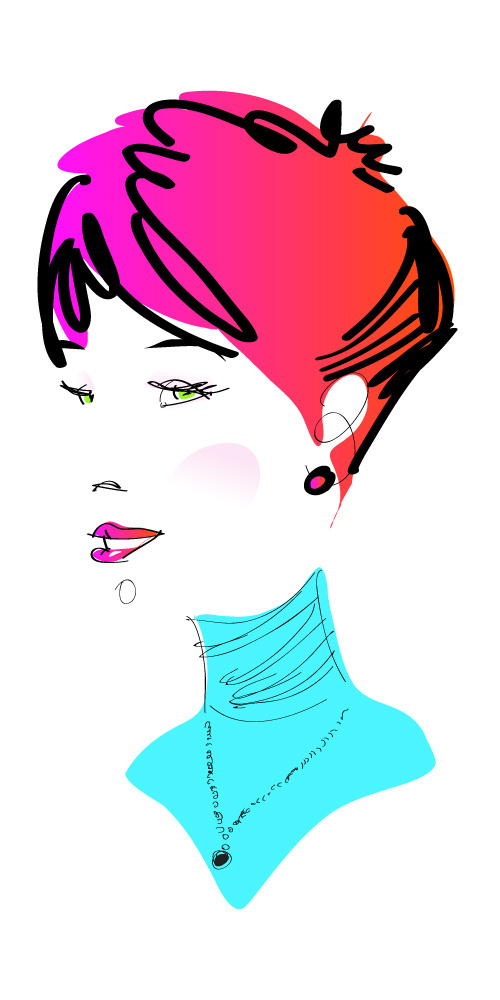 Specialmagazin #vector #woman #girl #pink #hair #portrait #gradient #face