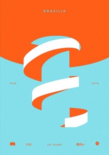 Baubauhaus. #white #brasilia #design #graphic #orange #shapes #simple #poster #blue