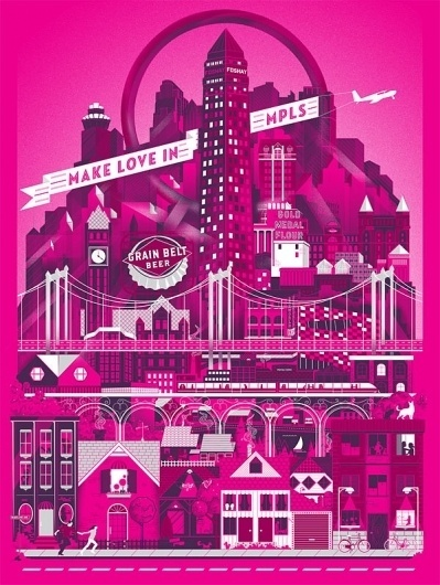 Eight Hour Day » Blog #beer #pink #texture #illustration #poster #minneapolis #type #love #typography