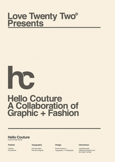 Hello Couture (with Love 22) on the Behance Network #poster #typography