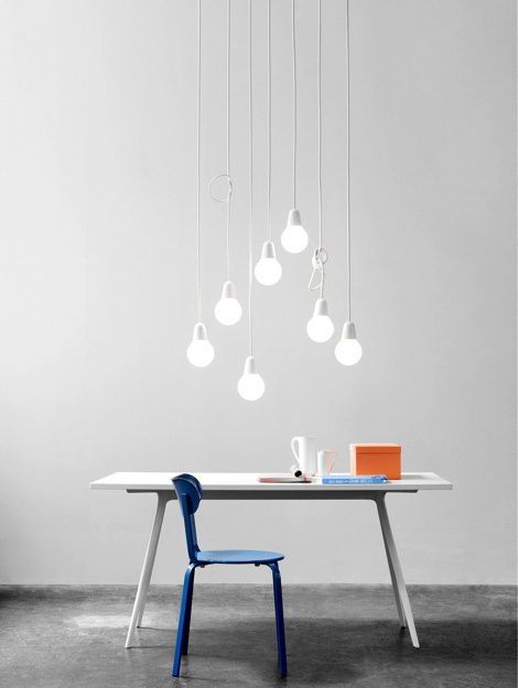 Bulb Fiction — Kibisi #bulbs #chair #blue #light #grey