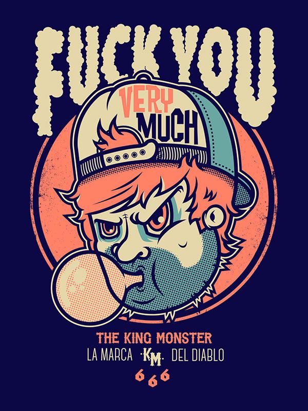 THE KING MONSTER 666 on Behance #vector #fuck #devil #illustration #poster #monster #666 #killer #blue