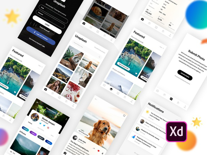 Unsplash Android-iOS App Concept (UI Template) dashboard ux daily ui ui design stock-image photo-app ui-ux ui-design iphone photos adobe xd ios android template ui-kit unsplash concept app