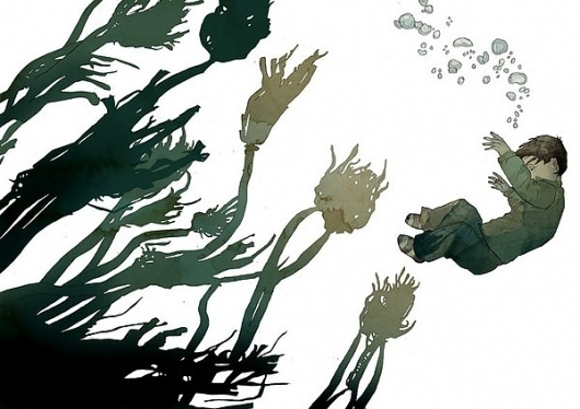 The Curious Exhibition on the Behance Network #boy #illustration #water