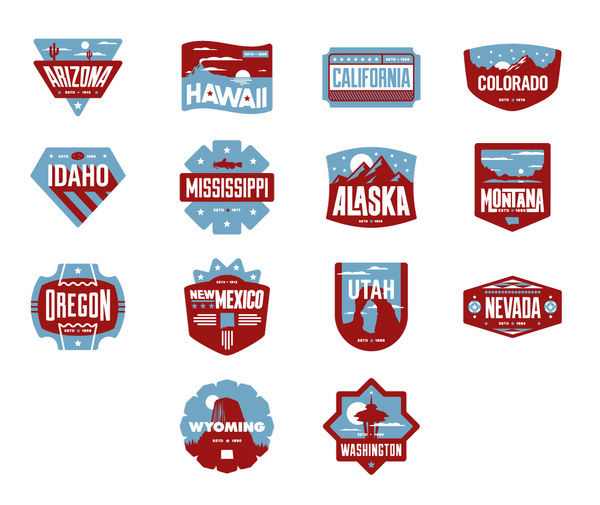 West Badges #states #wyoming #colorado #nevada #badges #california #new #oregon #rushing #arizona #mexico #chris #mississippi #idaho #hawaii #america #usa #washington #alaska #utah #montana