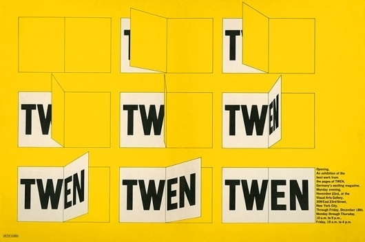 Container List: Twen at the Visual Arts Gallery #yellow #poster #glaser #1965 #milton