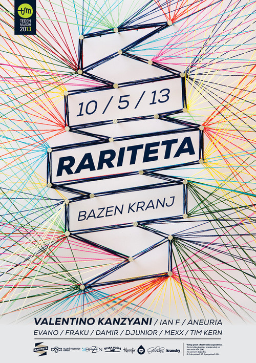 Rariteta poster, the third from the series. I decided to keep the form from the1stposter and made it from cotton strings. Also check out #design #electronic #strings #poster #made #music #hand #colourfull #party