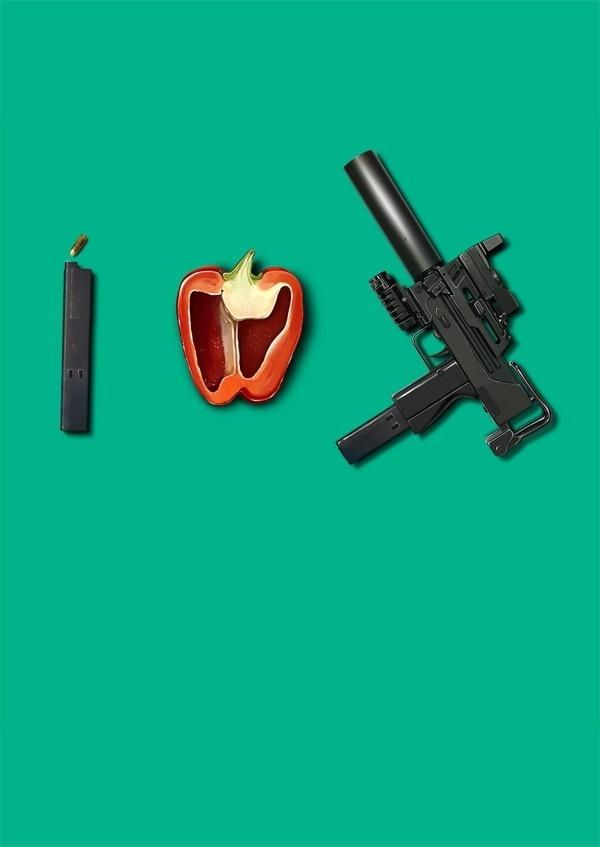 i love ingram #uzi #weapon #food #ingram #illustration #pantone #bullet