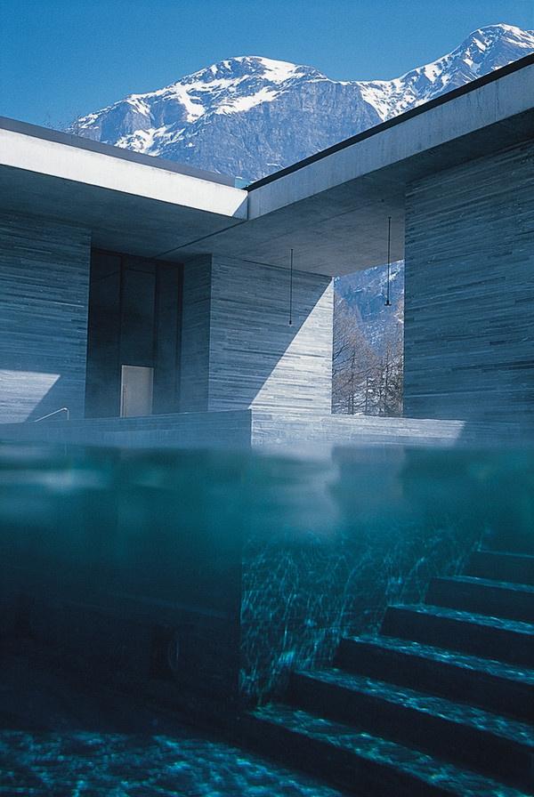 CJWHO ™ #design #architecture #photography #switzerland #pool #water #peter zumthor #interiors #bath #vals