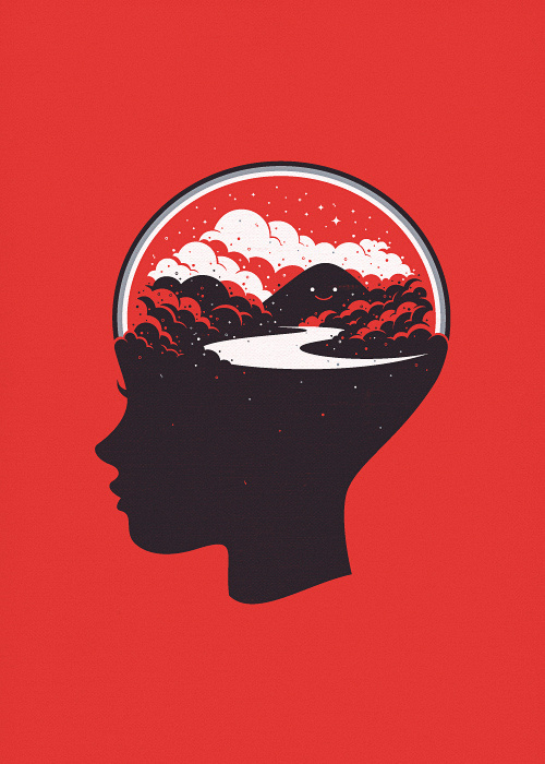 In a Happy Place, by Sa'd Khorsid #clouds #mountain #mind #brain #thinking #illustration #sillhouette #river #thought