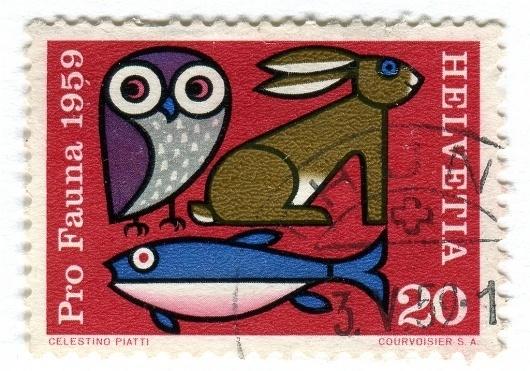 All sizes | Switzerland Postage Stamp: Pro Fauna | Flickr - Photo Sharing! #stamp #owl #fish #retro #vintage #animals #type #rabbit #typography