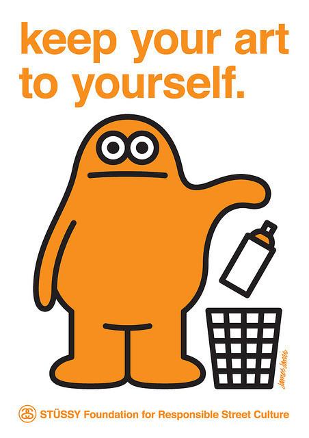 Keep Your Art to Yourself - James Jarvis #illustration #orange #can #trash