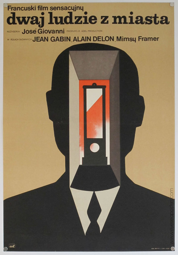 """Maciej Hibner's poster for French crime drama, """"Dwaj Ludzie Z Miasta """" (1975), seems like it could be influenced from Rene Magritteâ #movie #design #poster"""