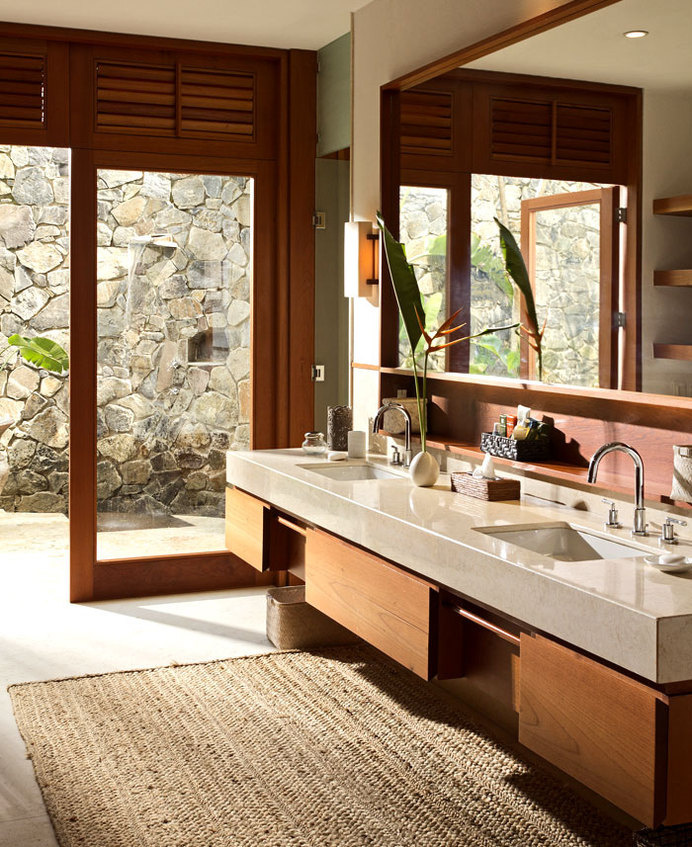 Vacation Villa Completely Open to the Mexican Pacific Bay warm earthy colors bathroom #interior #bath #design #bathroom