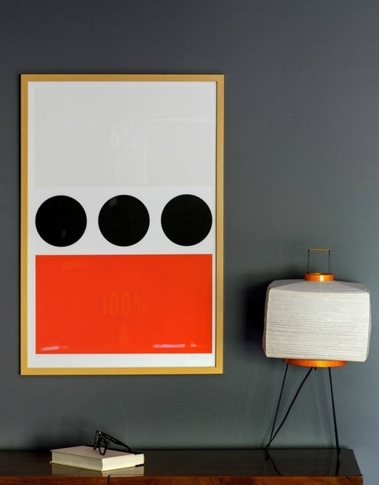 Clean Poster on grey wall #lamp #red #book #dots #poster #grey