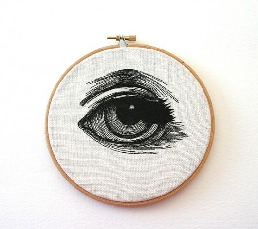 Human Eye Stitched Illustrated Hand Embroidered Wall by Samskiart