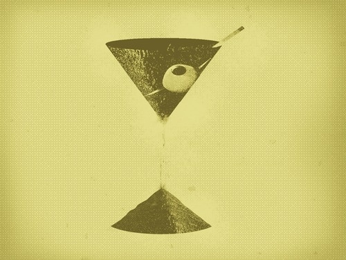 Martini Time. Shaked, not stirred. #hourglass #olive #martini #olives #illustration #sand #time #green