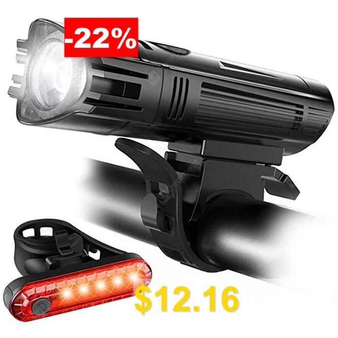 Bicycle #Headlight #Taillight #USB #Charging #Mountain #Bike #Riding #Light #- #BLACK
