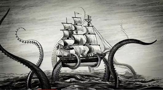 Kraken Rum Illustrated Animations... on the Behance Network #motion #illustration #ship #sea #monster #graphics #rum #kraken