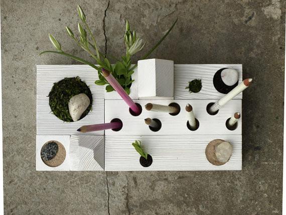 Desk Organizer, Zen Garden, White By Karolin Felix Dream Contemporary Desk  Accessories #wood